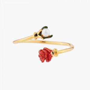 Les Nereides Red Rosebud and Pearl adjustable Ring, Handmade Ring mit OVP