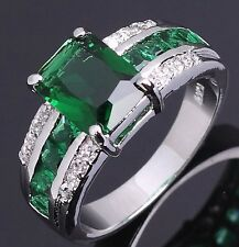 Jewelry Size 10 Women Men Solitaire Emerald Cut Emerald 18K Gold Filled Ring