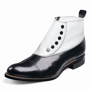 Stacy Adams Spatz Mens Madison Black White Leather Side iSnap Zipper Dress Boot
