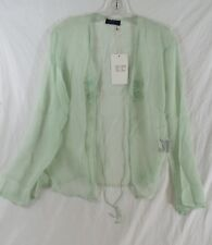 Stella Forest Sheer Jacket Mint Green Decorative Flowers Long Bell Sleeves 36