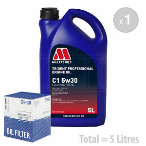Engine Oil and Filter Service Kit 5 LITRES Millers Oils Trident C1 5W30 5L
