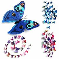 12/24 3D Butterfly Wall Stickers Art Decals Home Room Decorations Decor Ornament