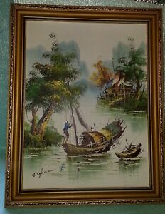 Collectable Framed Canvas of Fisherman By Ng Kwa
