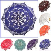 Handmade Wedding Umbrella Cotton Lace Parasol Vintage Embroidery Sun Battenburg