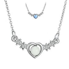 New Blue Glow in the Dark Steel Chain Love Heart Crystal Necklace Pendant Stones