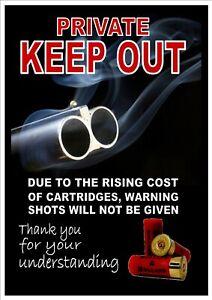 FUNNY SHOT GUN KEEP OUT SECURITY  METAL  SIGN. RUSTPROOF 28 X 19CM