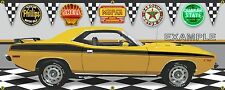 1973 PLYMOUTH CUDA MOPAR YELLOW GOLD GARAGE SCENE BANNER SIGN ART MURAL 2'X5'