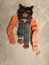 Vintage Halloween Decoration Hanging paper Dancing Black Cat w accordian arms