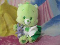 "11"" PLUSH GREEN GOOD LUCK SHAMROCK IRISH BABY BOY GIRL CARE BEAR TOY CUB W/BUDDY"