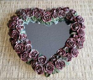 Vintage Burgundy Rose Framed Accent Mirror