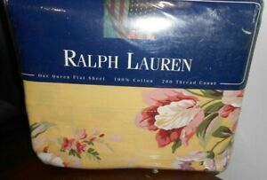 NEW Ralph Lauren QUEEN FLAT Sheet Sophie Brooke Floral French Country Cottage