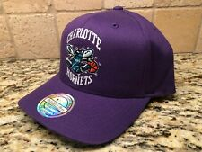 CHARLOTTE HORNETS MITCHELL & NESS PURPLE CURVE SNAPBACK HAT CAP SHIPS IN A BOX!