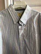 NWT Duck Head 100% Cotton Pale Blue Striped Dress Shirt/XXL