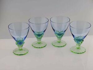 Bormioli Rocco Bahia Bi-Color Glass Dessert Dish Set Of 4 - Green Sapphire Blue