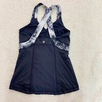 LULULEMON Push Your Limits Tank Gray Floral Criss Cross Back Size 8