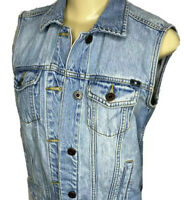 Lucky Brand Denim Vest Jean Jacket Trucker Button Front Light Wash Women Sz S