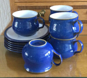 Denby Imperial Blue Coffee/Tea Cups And Saucers X 6