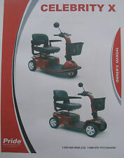 Pride Mobility CELEBRITY X Scooter User Owner Manual Guide
