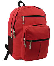 Wholesale Case Lot 24 Multi pockets Backpack Book Bag Day Pack, Red, LM199