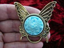 #E551) Blue Czech Eyeglass flower pin pendant ID badge holder