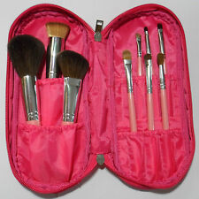NEW PINK High Quality Animal Hair 10 pc Makeup Brush Set w HOT PINK Case Travel