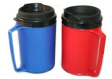 2 Foam Insulated 12oz ThermoServ Travel Mugs Red Blue