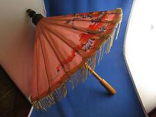 ancienne ombrelle parapluie de poupee  en bois et tissus a fleurs epoque 1950