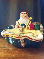 """Studio Nova Ceramic Christmas Bunny Woodland Holly Santa HOSTESS DISH 6""""tall EUC"""