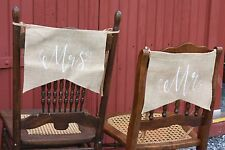 """""""Mr and Mrs"""" - Burlap Chair signs Rustic Wedding Barn Wedding  White Font Banner"""