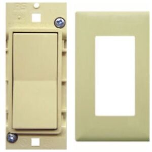 Pass & Seymour Mobile Home Almond Self-Contained Rocker Switch w/Snap On Plate