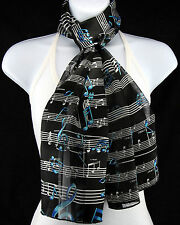 Blue Notes Womens Music Scarf Striped Fashion Scarfs Gift Her Black Scarves New