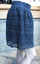 H&M S Gorgeous Navy Blue Short Lacy Layered Skirt Elastic Waist & Lace Fabulous!