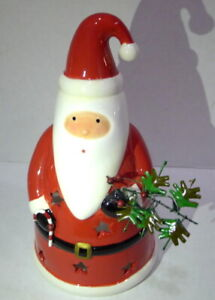 Ceramic Hand Painted Santa Claus Christmas Tea Light Candle Holder Germany