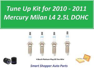 Tune Up Kit for 2010  2011 Mercury Milan L4 Spark Plug, Oil Filter, Air Filter