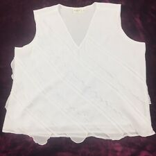 CATO WOMAN Sleeveless Shirt Ruffle Top White Size18/20W 100% Polyester         6