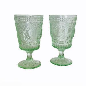 Easter Bunny Hobnail Green Glass Vintage Look Pedestal Beverage Glasses Set of 2