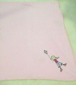 "Cosy Pink Children's Fleecy Snug Blanket Throw Cartoon Girl with Kite 48"" x 60"""