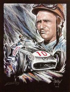 Juan Manuel Fangio and MB W196 Serigraphie limitiert Original Ferreyra-Basso