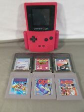 Game Boy Color Pink CGB-001 w/ 6 Games & Pelican PL-831