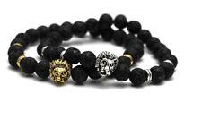 Black Lion Energy Lava Rock Stone Bracelet Beaded Agate Gold Silver Lot of 2 NEW