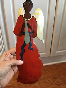 Made in Haiti Metal Angel Hand Painted Hanging Wall Art Sculpture Primitive