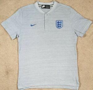 Nike England Football Team Polo Shirt Grey Grandad Collar Official Large