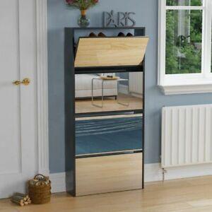 Welham 4 Drawer Shoe Cabinet Mirrored Storage Cupboard Footwear Stand Black