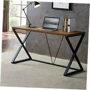 Computer Desk, Rustic Wood and Metal X Writing Desk, Wood Table for Home 55in