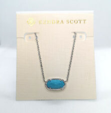 New Kendra Scott Elisa Pendant Necklace In Turquoise / Silver