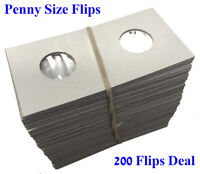 2X2 Penny Size Coin Flips Cardboard Mylar Holders Cowens US New Deal Of 200 Pcs