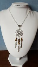 Tigers eye gemstone dream-catcher necklace with feather charms