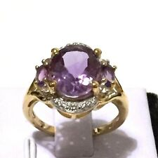 4.25ct Genuine Natural Amethyst in 14K YG Plated 925 Silver Ring Size 8