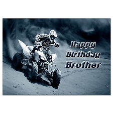 c286 Large Personalised Birthday card Custom made for any name; yamaha quad bike
