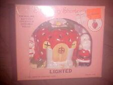 "Vintage  Strawberry Shortcake  5"" Twinkling Light Up Ceramic House  1990  w/ Box"